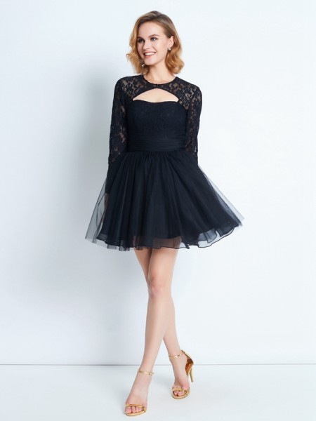 A-Line/Princess High Neck Long Sleeves Short/Mini Lace Net Dresses