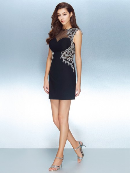 Sheath/Column Jewel Short Sleeves Short/Mini Crystal Net Dresses