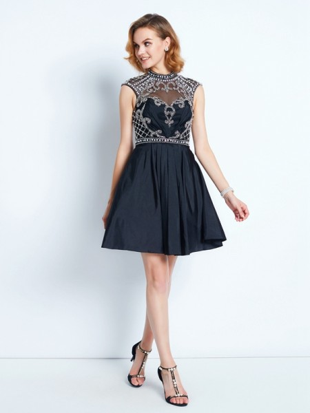 A-Line/Princess Sleeveless High Neck Short/Mini Beading Satin Dresses