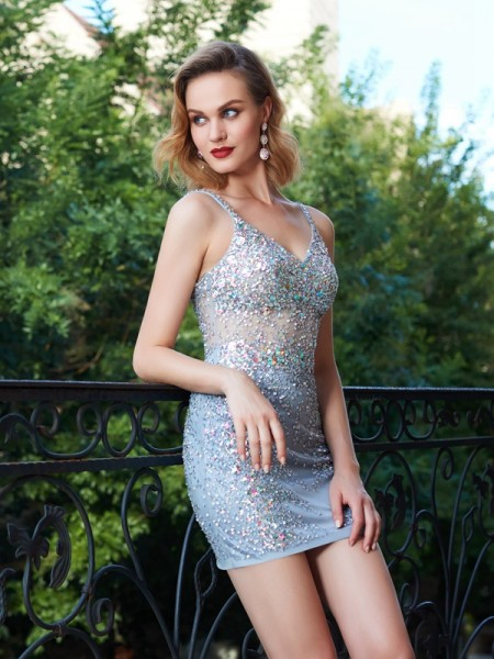 Sheath/Column Spaghetti Straps Sleeveless Short/Mini Sequin Net Dresses