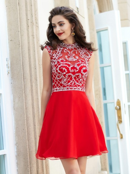 A-Line/Princess High Neck Sleeveless Short/Mini Beading Chiffon Dresses