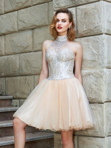 A-Line/Princess Sleeveless Halter Short/Mini Beading Net Dresses