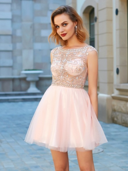 A-Line/Princess Scoop Short Sleeves Short/Mini Beading Net Dresses