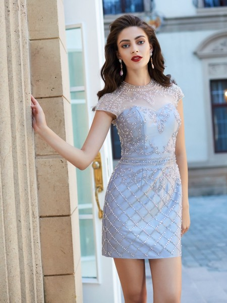 Sheath/Column Short Sleeves Jewel Short/Mini Beading Satin Dresses