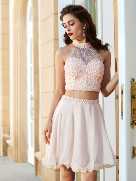 A-Line/Princess Halter Sleeveless Short/Mini Beading Chiffon Two Piece Dresses
