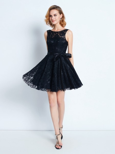 A-Line/Princess Scoop Sleeveless Short/Mini Sash/Ribbon/Belt Lace Dresses