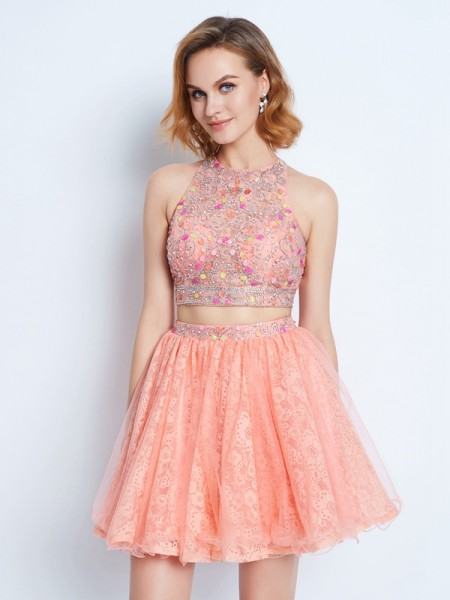 A-Line/Princess Sleeveless Jewel Short/Mini Lace Lace Two Piece Dresses