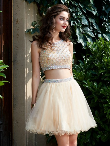 A-Line/Princess Scoop Sleeveless Short/Mini Beading Net Two Piece Dresses