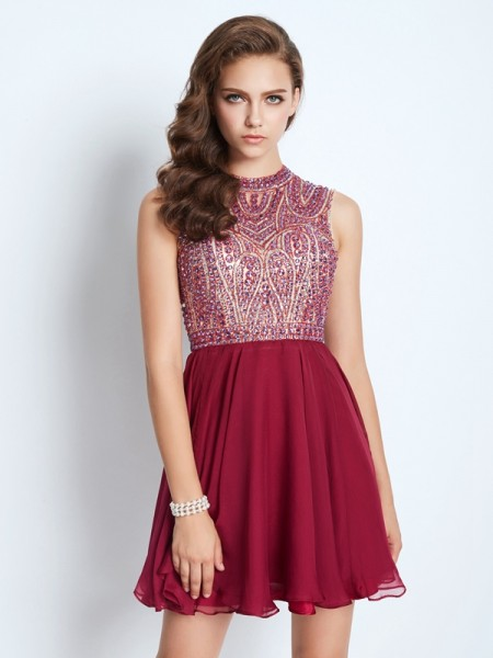A-Line/Princess Sleeveless Jewel Short/Mini Beading Chiffon Dresses