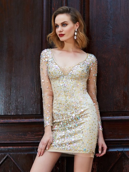 Sheath/Column Long Sleeves Scoop Short/Mini Rhinestone Net Dresses