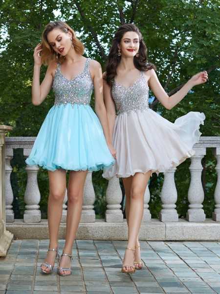 A-Line/Princess Straps Sleeveless Short/Mini Rhinestone Chiffon Dresses