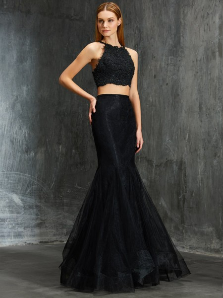 Trumpet/Mermaid Sleeveless Spaghetti Straps Floor-Length Applique Net Two Piece Dresses