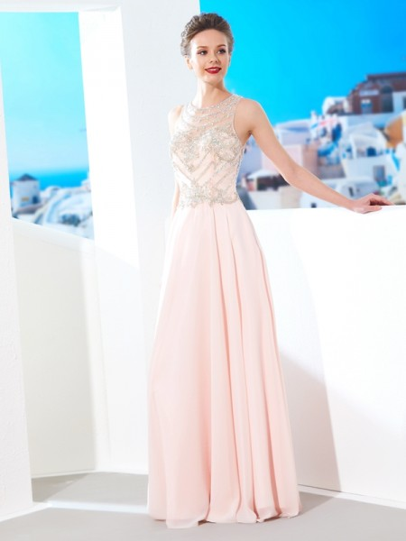 A-Line/Princess Sleeveless Scoop Floor-Length Crystal Chiffon Dresses