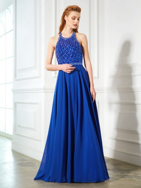 A-Line/Princess Sleeveless Jewel Sweep/Brush Train Beading Chiffon Dresses