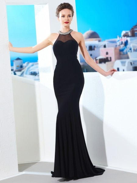 Sheath/Column Jewel Sleeveless Sweep/Brush Train Beading Spandex Dresses
