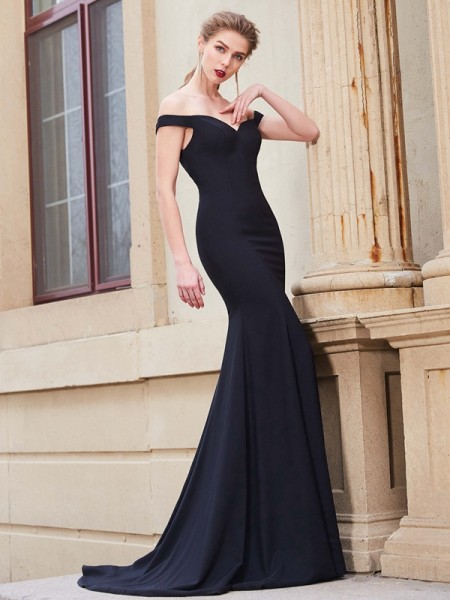 Trumpet/Mermaid Off-the-Shoulder Sleeveless Sweep/Brush Train Ruffles Satin Dresses
