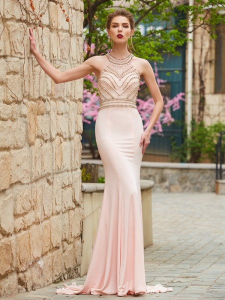 Sheath/Column Sleeveless Scoop Sweep/Brush Train Beading Spandex Dresses