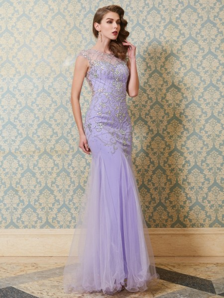 Trumpet/Mermaid Sleeveless Scoop Floor-Length Beading Tulle Dresses