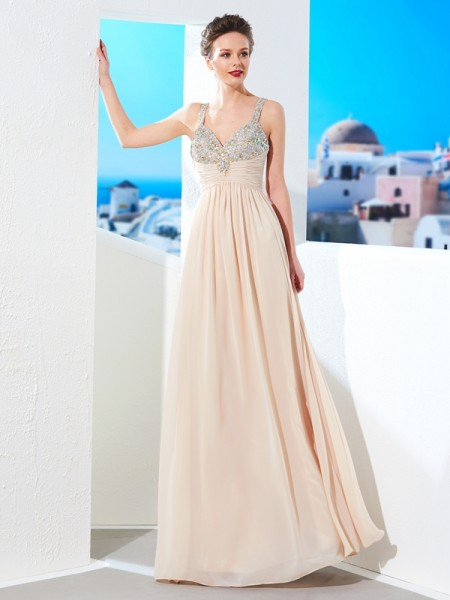 A-Line/Princess Sleeveless Spaghetti Straps Floor-Length Beading Chiffon Dresses