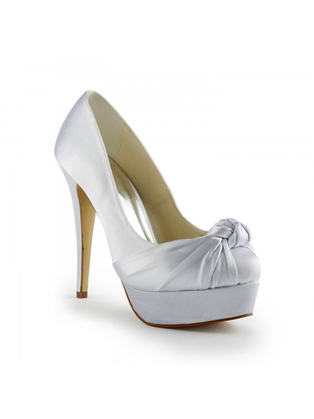 Women's Gorgeous Satin Stiletto Heel Pumps With Ruched White Wedding Shoes