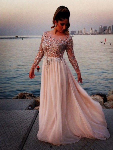 A-Line/Princess Long Sleeves Bateau Floor-Length Beading Chiffon Dresses