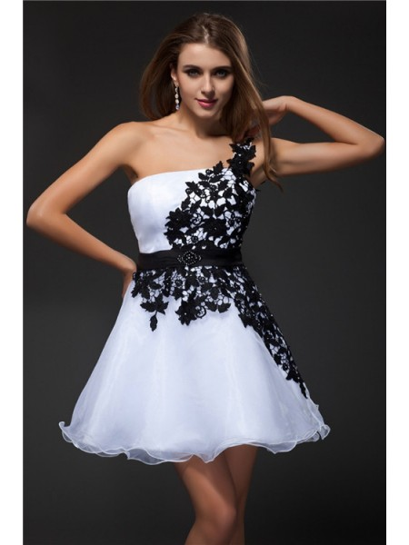Empire One-Shoulder Sleeveless Short/Mini Applique Organza Dresses