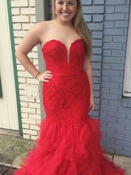 Trumpet/Mermaid Sweetheart Sleeveless Lace Sweep/Brush Train Tulle Plus Size Dresses