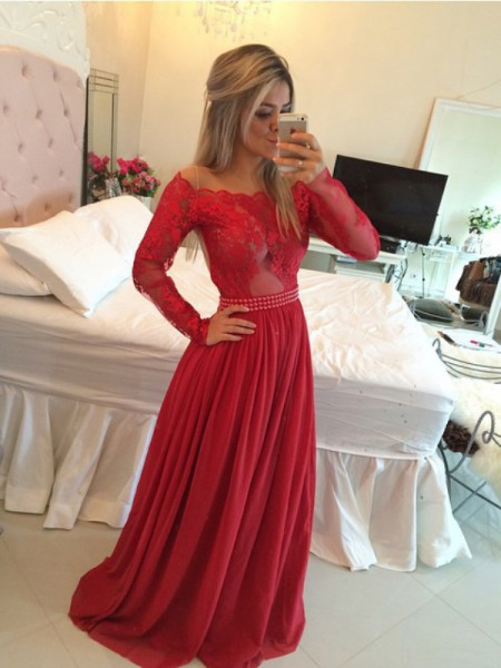 A-Line/Princess Off-the-Shoulder Long Sleeves Sweep/Brush Train Applique Chiffon Dresses