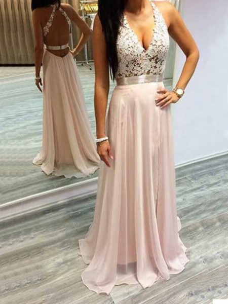 A-Line/Princess Halter Sleeveless Sweep/Brush Train Lace Chiffon Dresses