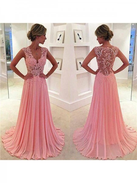 A-Line/Princess Sleeveless V-neck Sweep/Brush Train Lace Chiffon Dresses