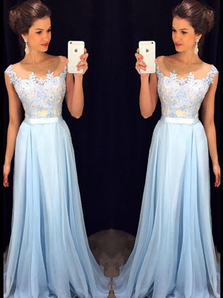 A-Line/Princess Sheer Neck Sleeveless Sweep/Brush Train Applique Chiffon Dresses