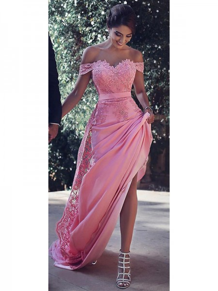 Sheath/Column Off-the-Shoulder Sleeveless Sweep/Brush Train Lace Silk like Satin Dresses