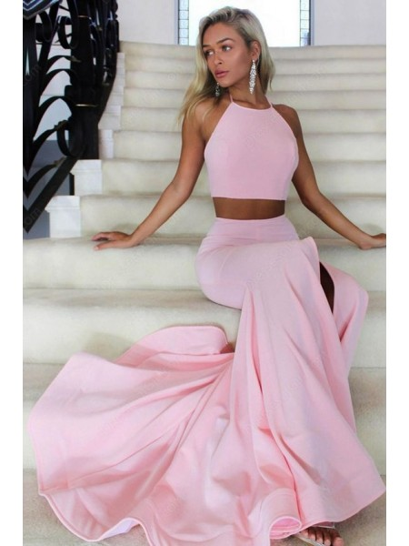 A-Line Halter Sleeveless Sweep/Brush Train With Ruffles Satin Two Piece Dresses