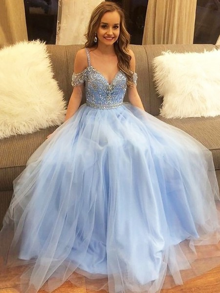 A-Line Off-the-Shoulder Floor-Length Tulle Sleeveless With Beading Dresses
