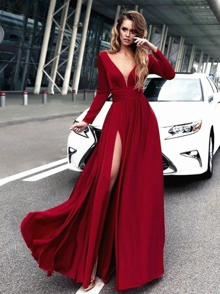 A-Line V-neck Floor-Length Satin Long Sleeves With Ruffles Dresses