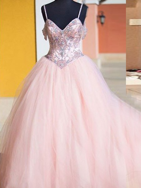 Ball Gown Sleeveless Spaghetti Straps Floor-Length Crystal Tulle Dresses