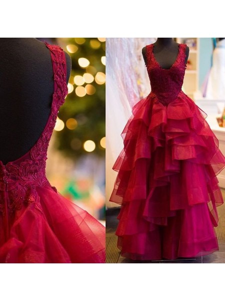 Ball Gown V-neck Sleeveless Floor-Length Applique Tulle Dresses