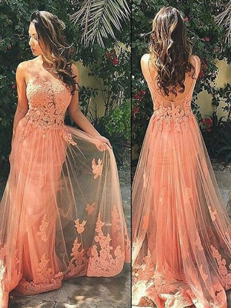 A-Line/Princess Sleeveless Straps Sweep/Brush Train Applique Tulle Dresses