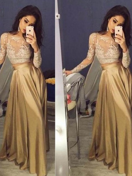 A-Line/Princess Scoop Long Sleeves Floor-Length Applique Satin Two Piece Dresses