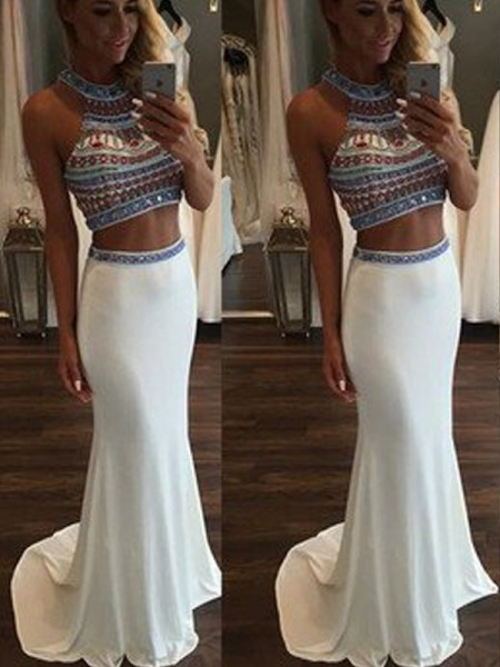 Trumpet/Mermaid Halter Sleeveless Sweep/Brush Train Beading Chiffon Two Piece Dresses