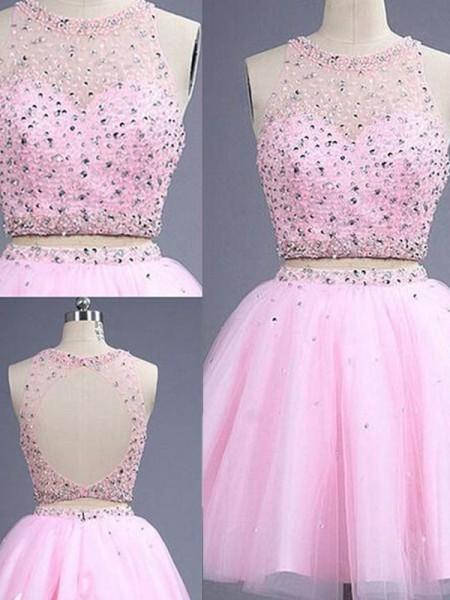A-Line/Princess Scoop Sleeveless Short/Mini Beading Tulle Two Piece Dresses