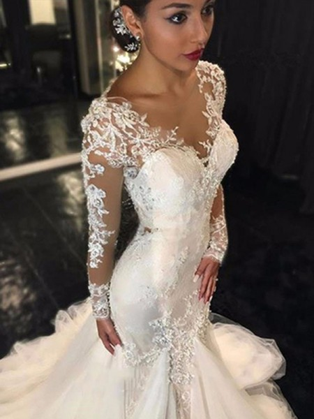 Trumpet/Mermaid Long Sleeves V-neck Court Train Lace Tulle Wedding Dresses