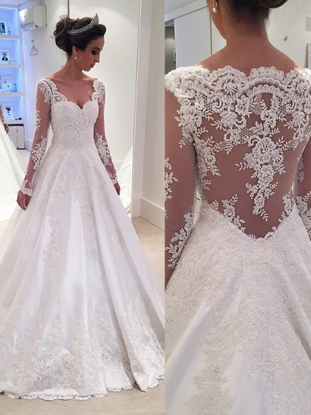 Ball Gown V-neck Long Sleeves Court Train Lace Satin Wedding Dresses