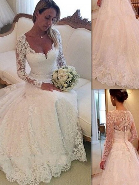 Ball Gown Long Sleeves V-neck Court Train Lace Tulle Wedding Dresses