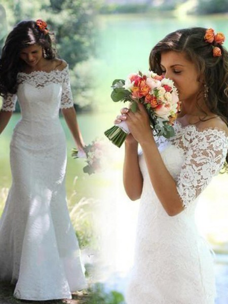 Trumpet/Mermaid Off-the-Shoulder 1/2 Sleeves Sweep/Brush Train Lace Lace Wedding Dresses