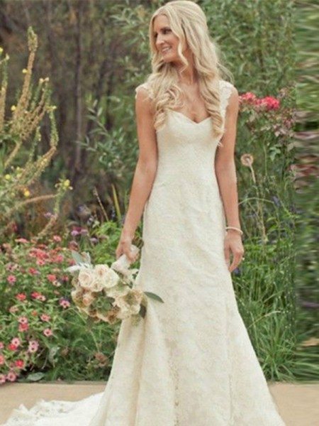 Trumpet/Mermaid Sleeveless V-neck Sweep/Brush Train Lace Wedding Dresses