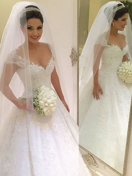Ball Gown V-neck Sleeveless Floor-Length Beading Tulle Wedding Dresses