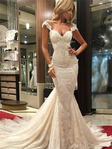 Trumpet/Mermaid Sleeveless V-neck Sweep/Brush Train Lace Lace Wedding Dresses