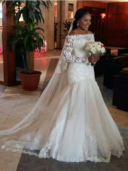 Trumpet/Mermaid Off-the-Shoulder Long Sleeves Floor-Length Lace Tulle Wedding Dresses