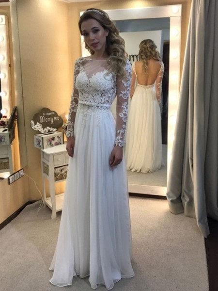 A-Line/Princess Long Sleeves Bateau Floor-Length Lace Chiffon Wedding Dresses